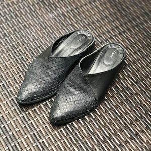 Vintage Leather Woven Slip On Loafer Mules🌿